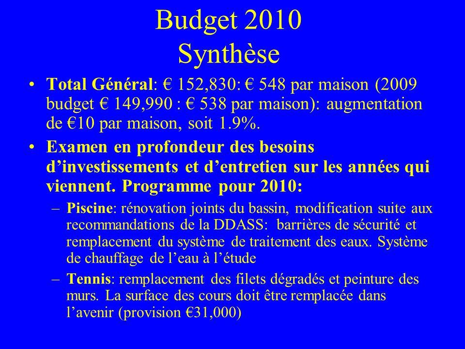 Budget 2010 Synthèse suite Programme pour 2010: –Club House: ravalement, peinture cuisine et remplacement du lino.