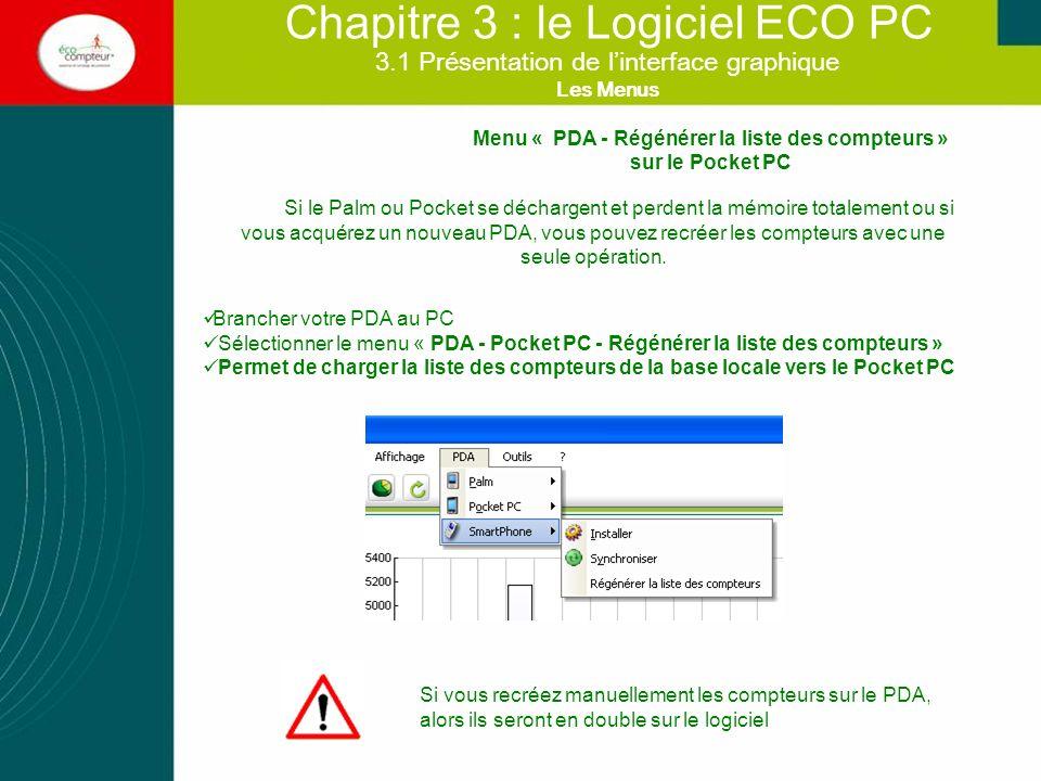3.2 Afficher mes données Chapitre 3 : le Logiciel ECO PC Savoir changer de graphique (courbes, camemberts, etc) En cliquant sur « Outils-options » onglet Options Graphiques Dans le menu contextuel (Clic droit de la souris) choisir «Option graphiques »