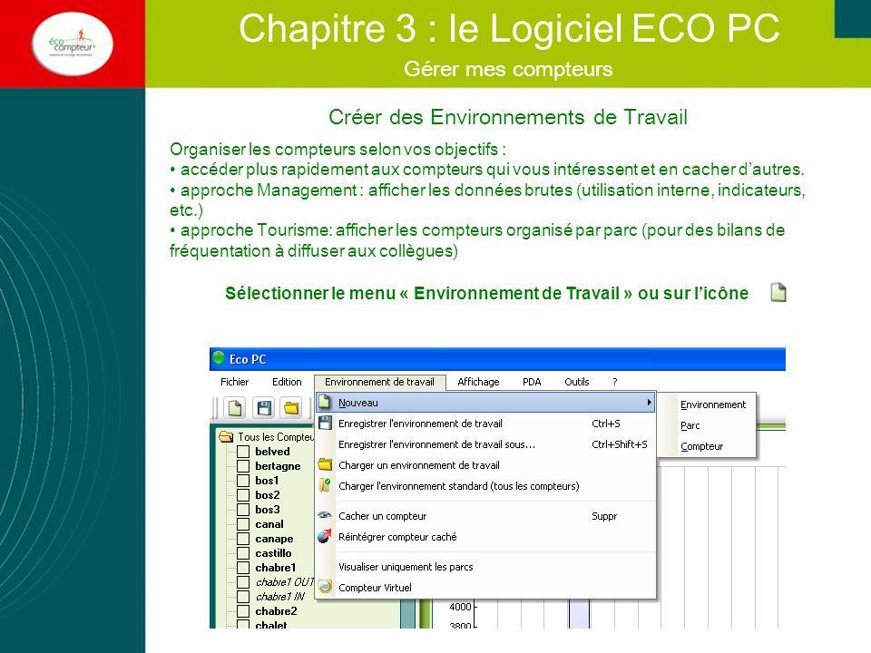 Créer des environnements de travail Chapitre 3 : le Logiciel ECO PC Gérer mes compteurs Les données brutes ne sont jamais affectées Exemple 1: Créer une liste de compteurs en cachant ceux qui ne doivent pas en faire partie.