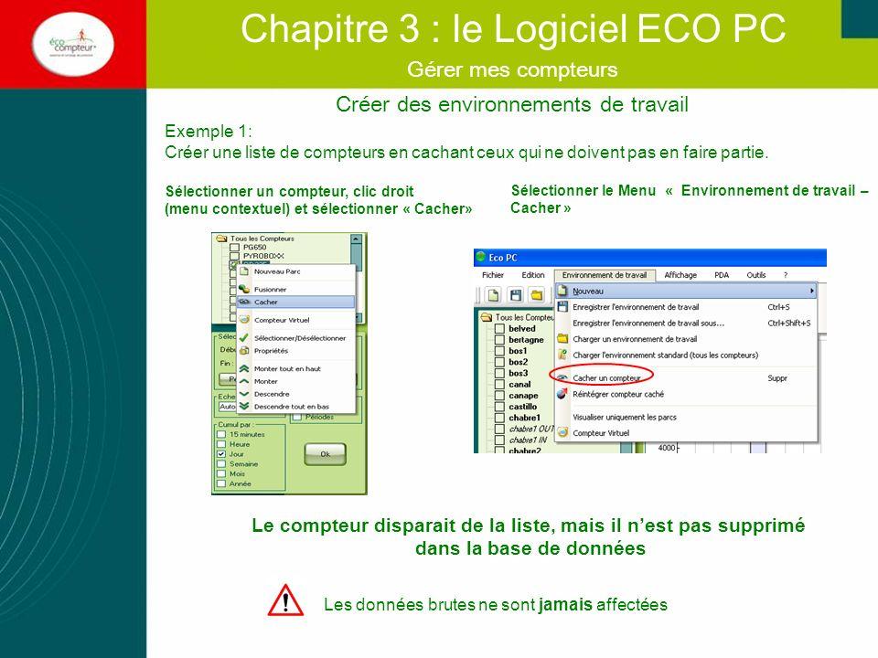 Créer des Environnements de Travail Chapitre 3 : le Logiciel ECO PC Gérer mes compteurs Exemple 1: Réintégrer un compteur cache: vous pouvez intégrer un compteur que vous venez de cacher: Sélectionner le Menu « Environnement de travail – Intégrer compteur caché » La fenêtre de gestion des compteurs cachées souvre