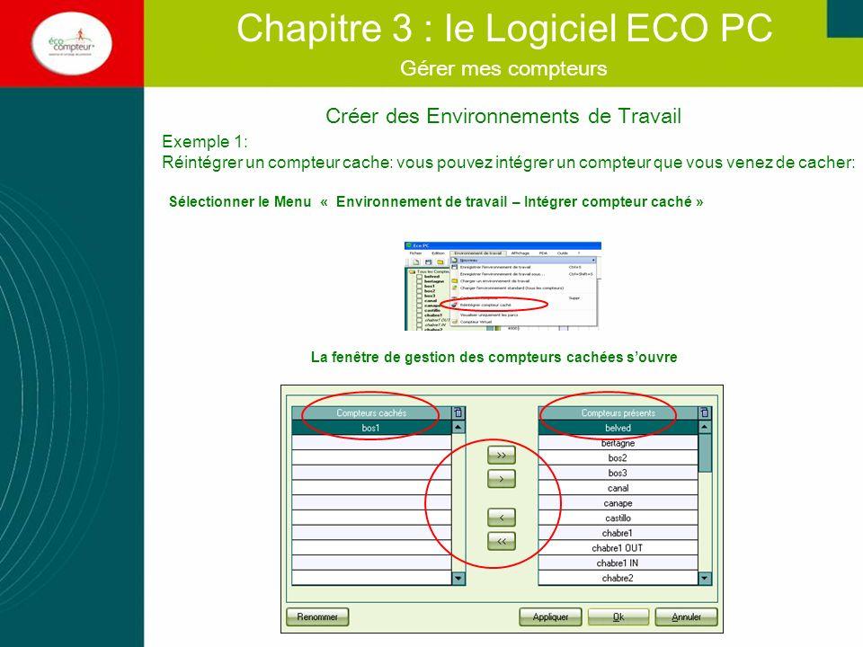 Chapitre 3 : le Logiciel ECO PC Savoir archiver et organiser mes compteurs.