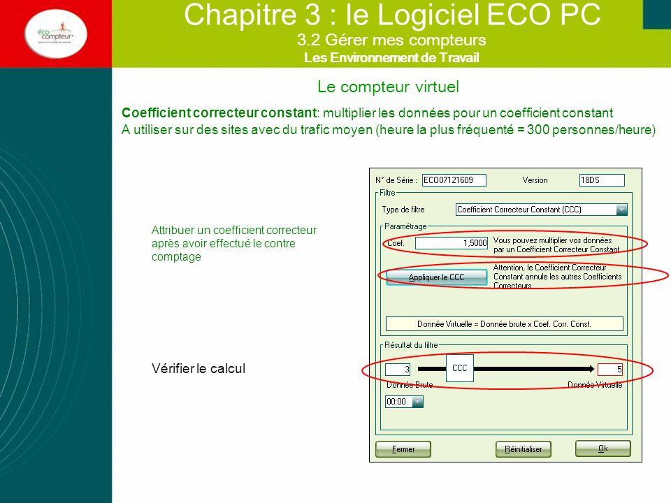 Le compteur virtuel Chapitre 3 : le Logiciel ECO PC Coefficient correcteur par palier : multiplier les données pour un coefficient qui varie en fonction du flux réel.