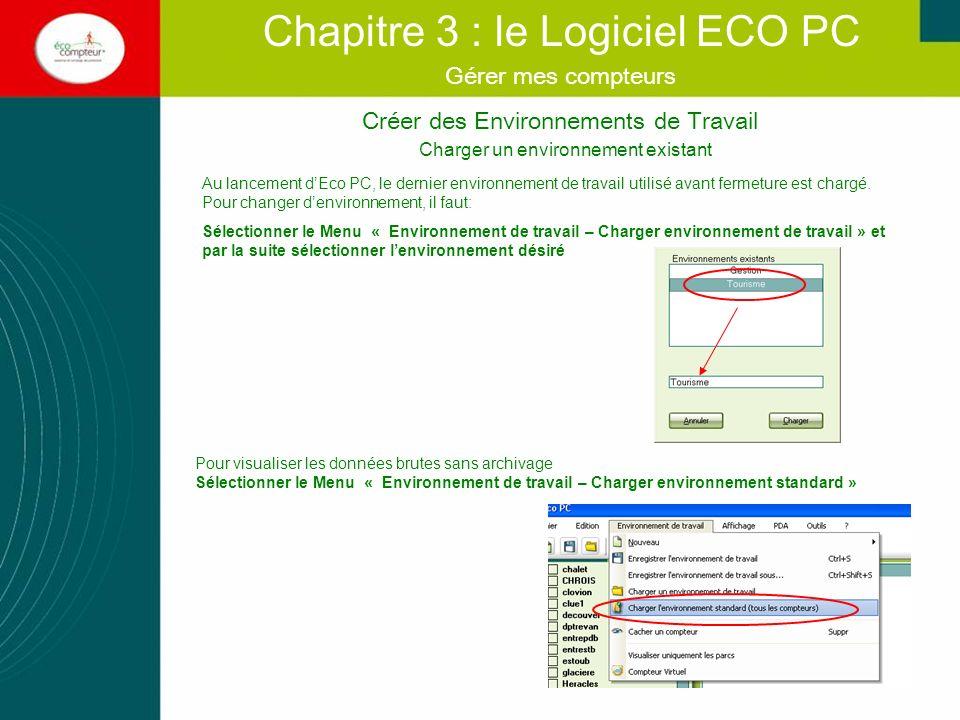 Créer des Environnements de Travail Chapitre 3 : le Logiciel ECO PC Gérer mes compteurs Autres fonctions du Menu « Environnement de travail » Vous pouvez optimiser la visualisation de vos environnements de travail en cachant des compteurs ou visualiser uniquement les parcs