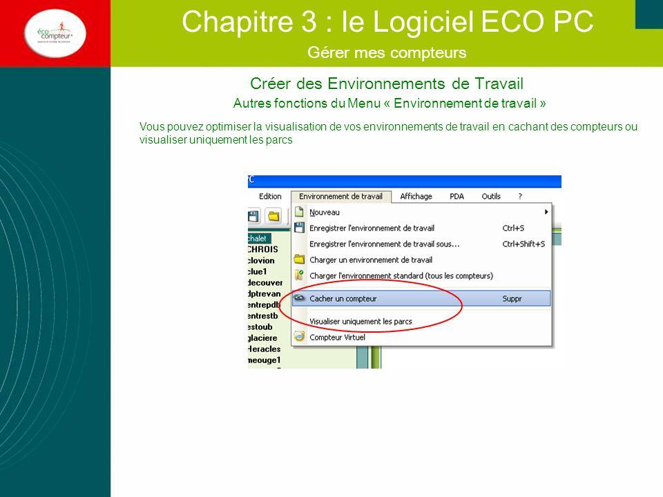 Diffuser les données Chapitre 3 : le Logiciel ECO PC Exporter vos graphiques et vos tableaux pour une meilleure exploitation de vos données.