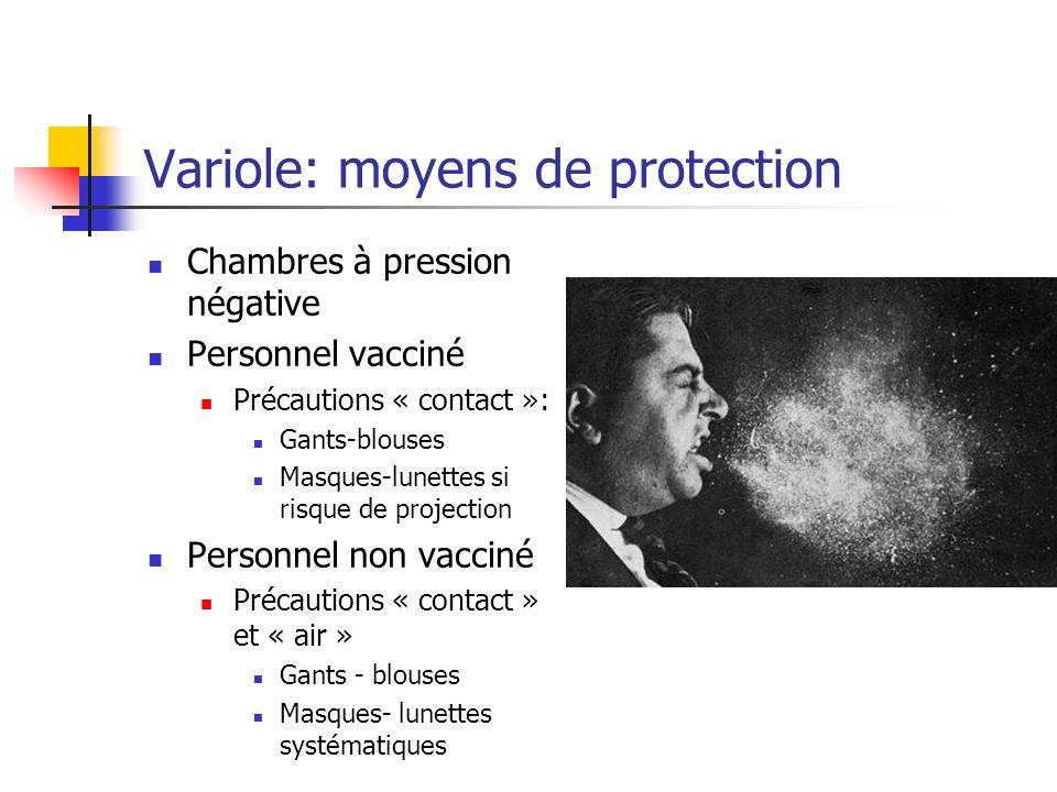 Plan national « variole » Stratégie : réaction graduée Niveau 0 (actuel) - menace non spécifique : vaccination de l équipe nationale d intervention Niveau 1 - menace avérée (plausible) : + vaccination d équipes hospitalières dédiées zonales Niveau 2 - Un cas dans le monde : + vaccination des intervenants de 1ère ligne Niveau 3 - Un cas en France : + vaccination de lensemble du personnel de santé et de secours à envisager + vaccination des sujets contacts ou exposés (vaccination en anneau ++) Niveau 4 - Plusieurs cas simultanés en France : +/- vaccination de l ensemble de la population