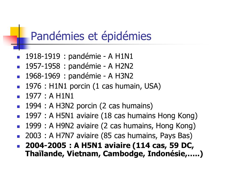 Grippe espagnole Pandémie, pratiquement universelle Evolution sur 2 ans Trois phases: Phase 1: mars-juin 1918 Phase 2: fin août 1918 - mars 1919 Phase 3: mars 1919 - juin 1920 20 à 40 millions de morts Recombinaison dun segment de gène de lhémagglutinine entre un gène aviaire et un gène porcin