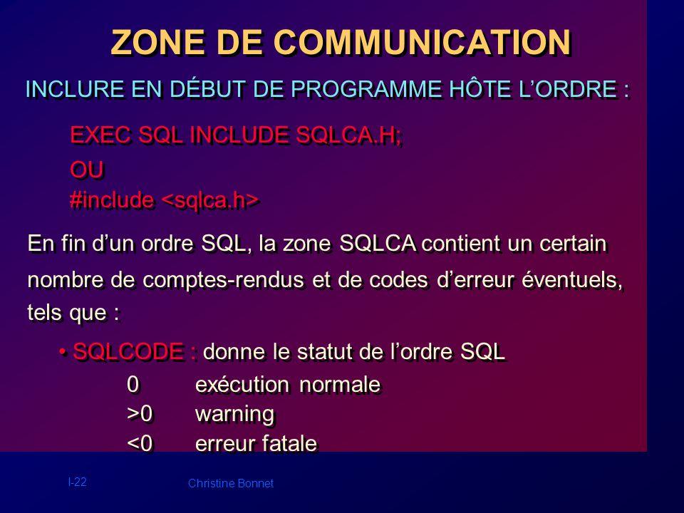 I-23 Christine Bonnet ZONE DE COMMUNICATION SQLERRM : donne des informations complémentaires en cas derreur ou davertissement.