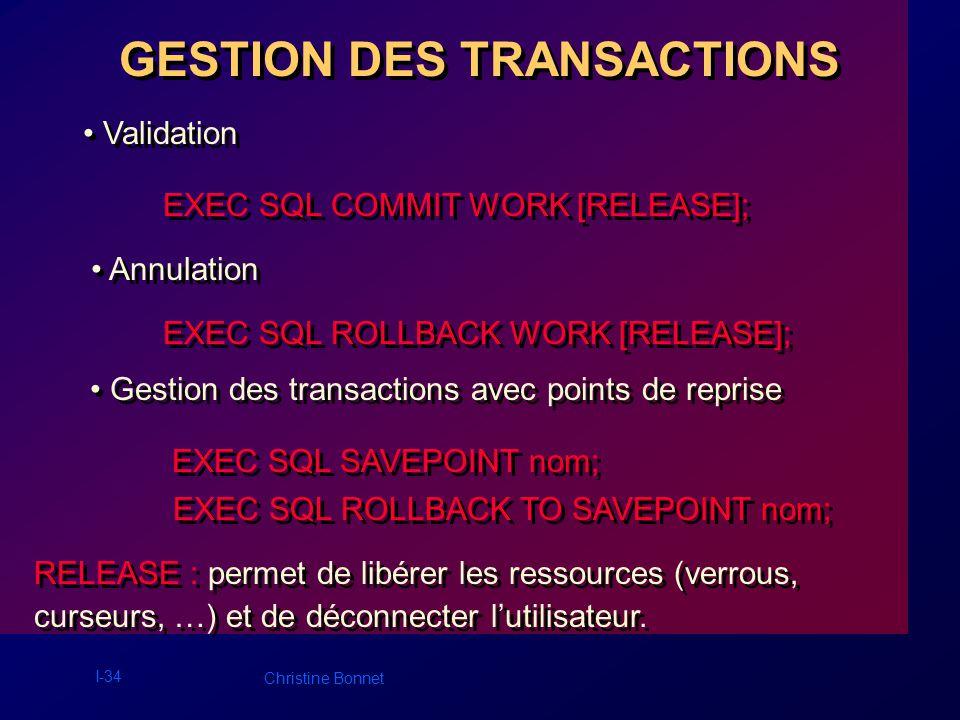 I-35 Christine Bonnet ORDRES SQL DYNAMIQUES Ordres SQL construits lors de lexécution du programme.