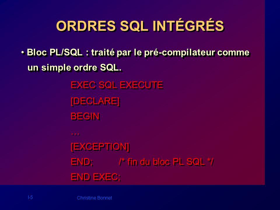 I-6 Christine Bonnet ORDRES SQL INTÉGRÉS Ordres SQL dynamiques : construits lors de Ordres SQL dynamiques : construits lors de lexécution du programme.
