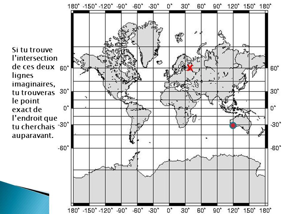 Trouves ces 5 endroits avec un atlas : a) 10 degrés sud et 55 degrés ouest: Brazil b) 54 degrés nord et 2 degrés ouest: Angleterre c) 35 degrés nord et 105 degrés est: Chine d) 60 degrés nord et 95 degrés ouest: Canada e)29 degrés sud et 24 degrés est: Afrique du Sud