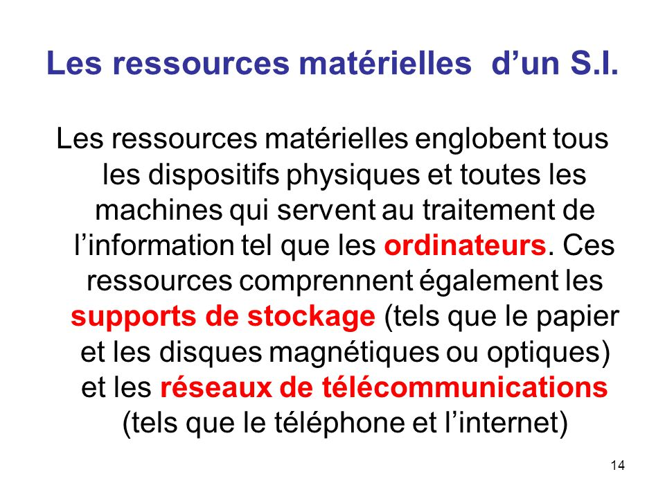 15 Les ressources logicielles dun S.I..