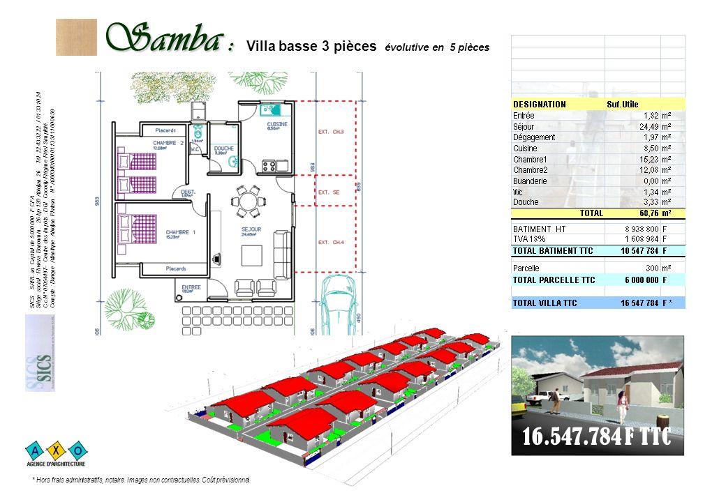 Samba : Samba : Villa basse 3 pièces évolutive en 5 pièces 16.547.784 F TTC SICS SARL au Capital de 5.000.000 F CFA Siège social : Riviera Bonoumin.