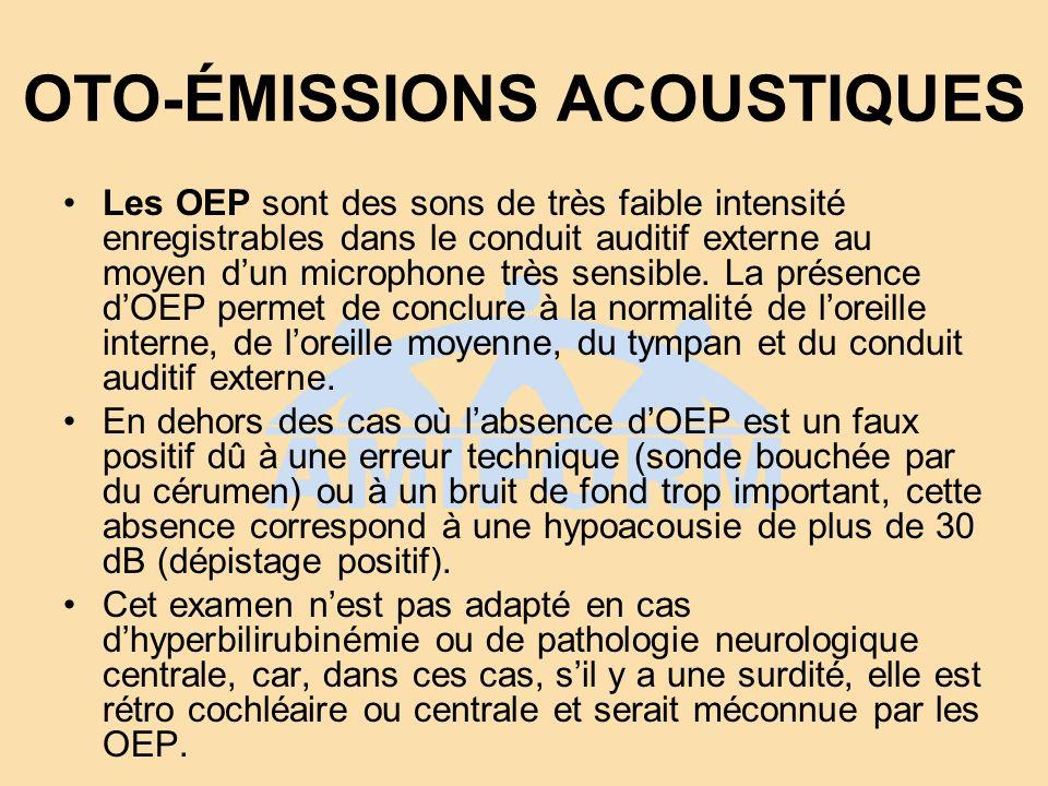 POTENTIELS ÉVOQUÉS AUDITIFS AUTOMATISÉS Les PEAA enregistrent lactivité électrique sur la partie initiale des voies auditives en réponse à des clicks à une intensité de 40 dB.