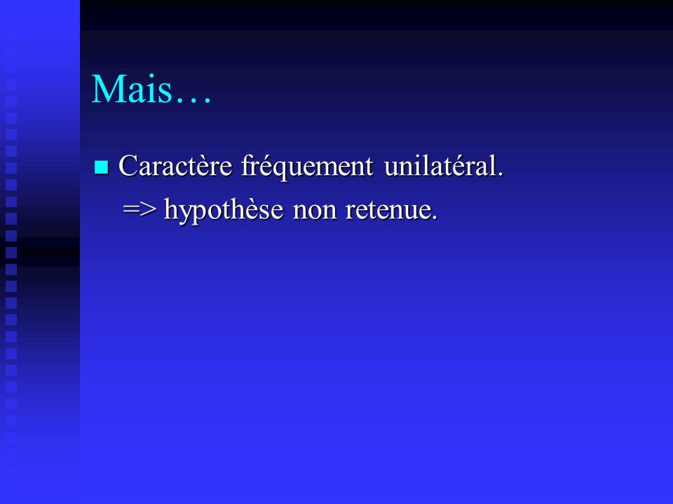 Hypothèses étiologiques (3): Tamponnade articulaire: Tamponnade articulaire: => augmentation de la pression intra- articulaire.