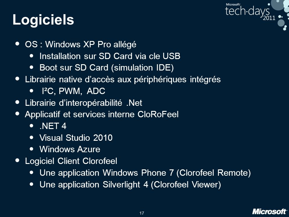 18 Architecture « POC » Roboard RB110 PWM USB Windows XP Pro allégée RoboIo Lib.Net 4 RoboIO_dotNet CloRoFeel Main Service CloRoFeel WebCam Grabber WCF WCF