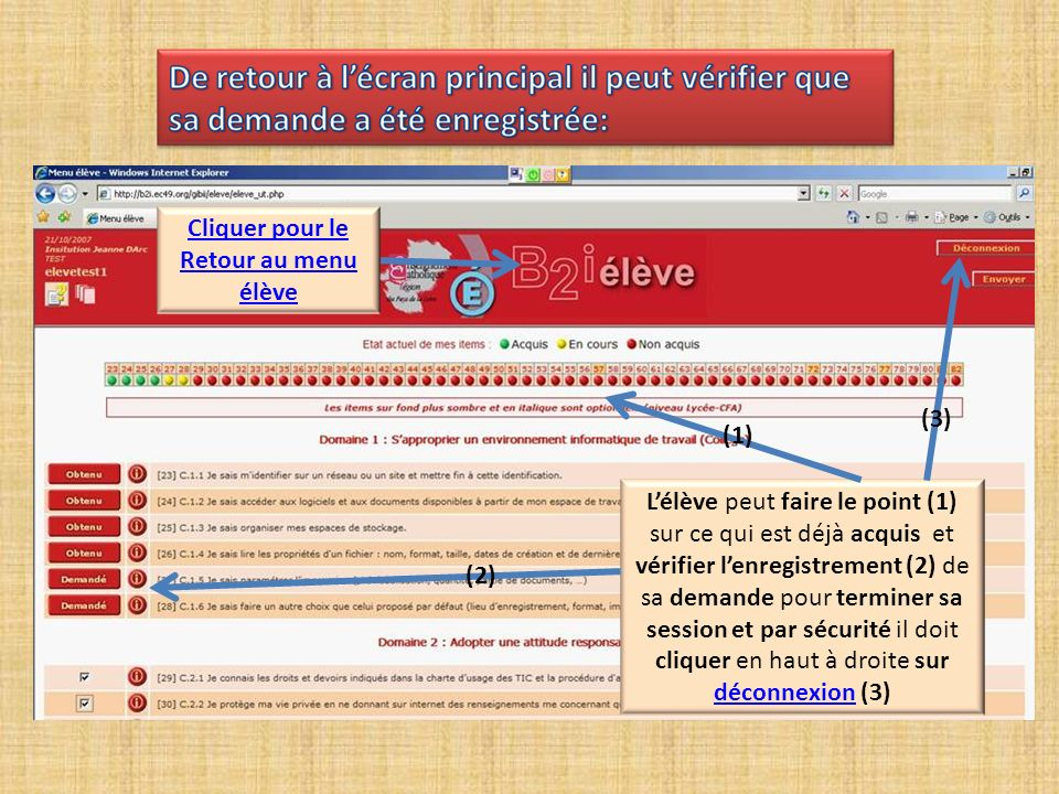 Cliquer ici « » pour valider la demande (6) Cliquer ici « » pour refuser la validation (7) Cliquer là «?»pour savoir quels sont les autres collègues susceptibles de traiter cette demande (8).