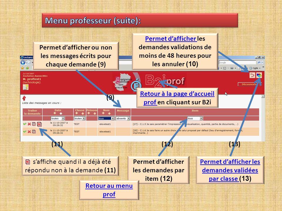Réponse facultative (1) (1) Cliquer sur envoyer Cliquer sur envoyer la réponse pour valider laccord (2) (2) Retour à la page daccueil Retour au menu prof