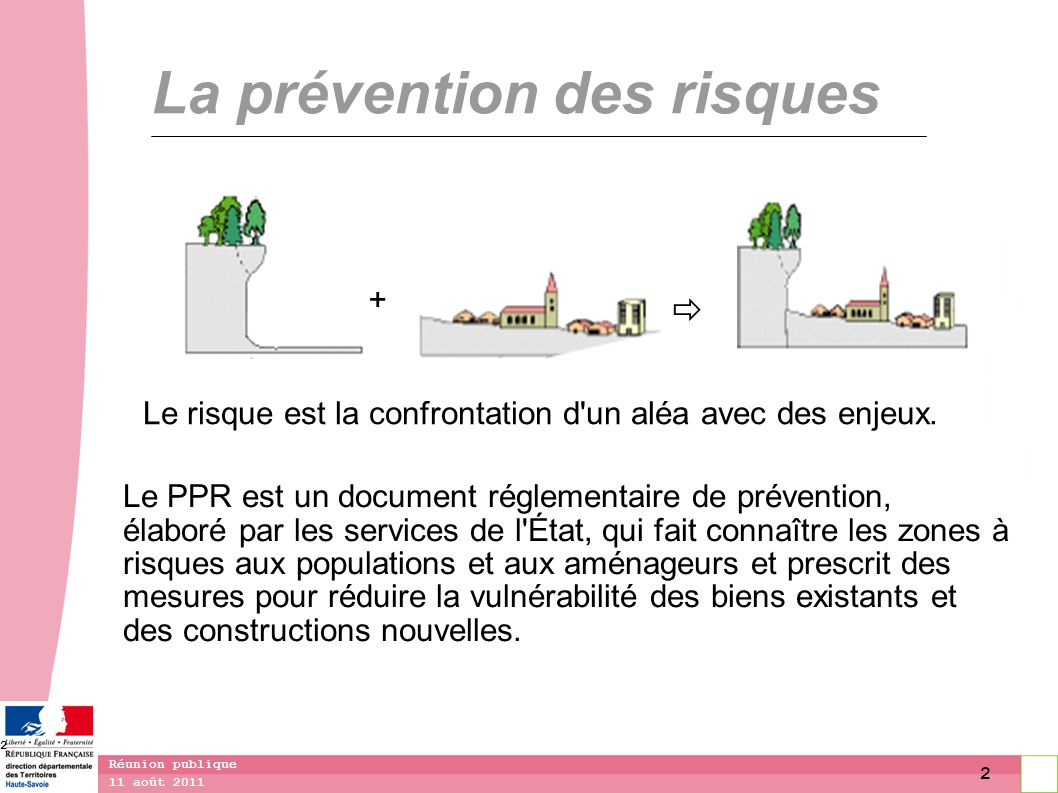3 11 août 2011 Réunion publique 3 La démarche de révision Le PPR (PER) est applicable depuis 1991, suivi d une révision partielle (Borne) approuvée en 1995.