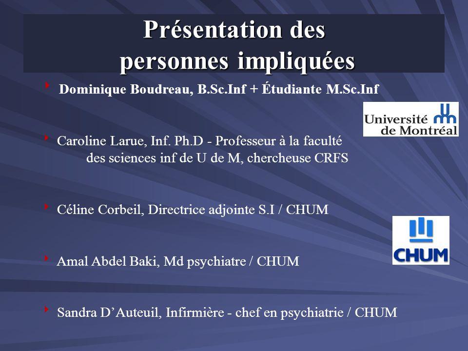 Contexte du projet CHUM- Hôpital Notre – Dame Services psychiatriques ambulatoires : clinique JAP, CAP, clinique externe des troubles psychotiques, SI Services psychiatriques internes