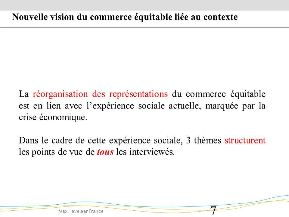 Max Havelaar France 8 -1- La question de la rétribution du travail -2- Le développement de lautonomie individuelle 3 thèmes réorganisent les points de vue de tous les interviewés -3- La référence au développement durable Nouvelle vision du commerce équitable liée au contexte