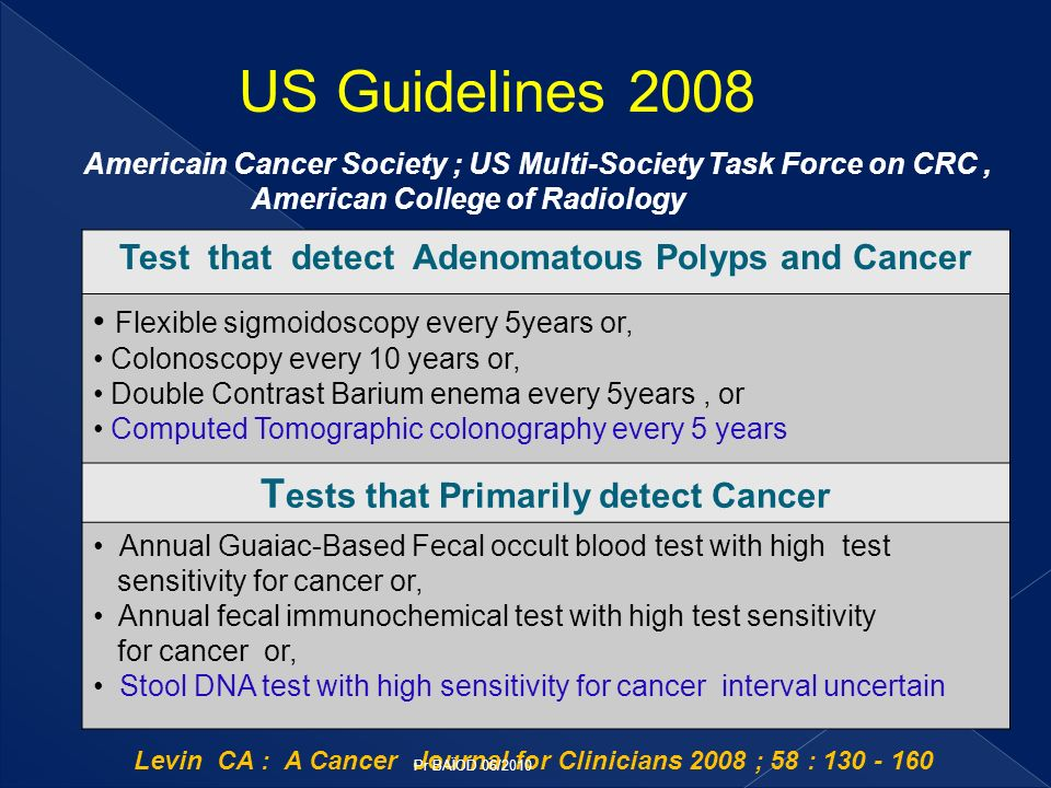 Rex and all Am J Gastroenterol 2009 USA: ACG Guidelines for CRC Screening Cancer prevention tests should be offered first.