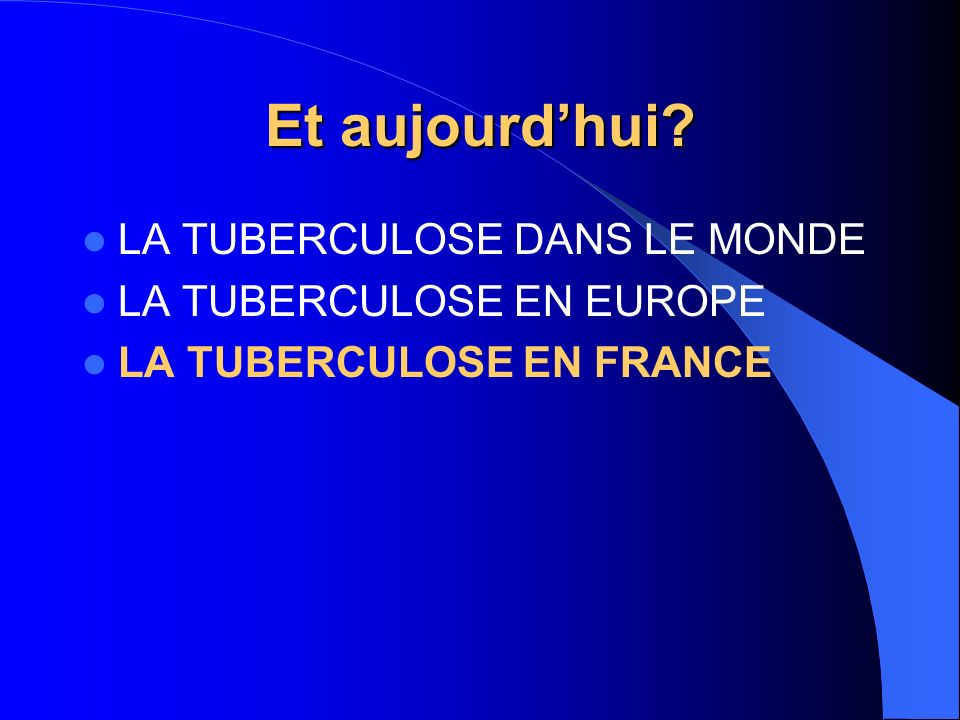 BEH, n°4, 2004 2002 : 6162 cas déclarés Incidence = 10,5 / 100 000 Enfants < 15 ans = 277 (5%) Nationalité étrangère Nationalité française