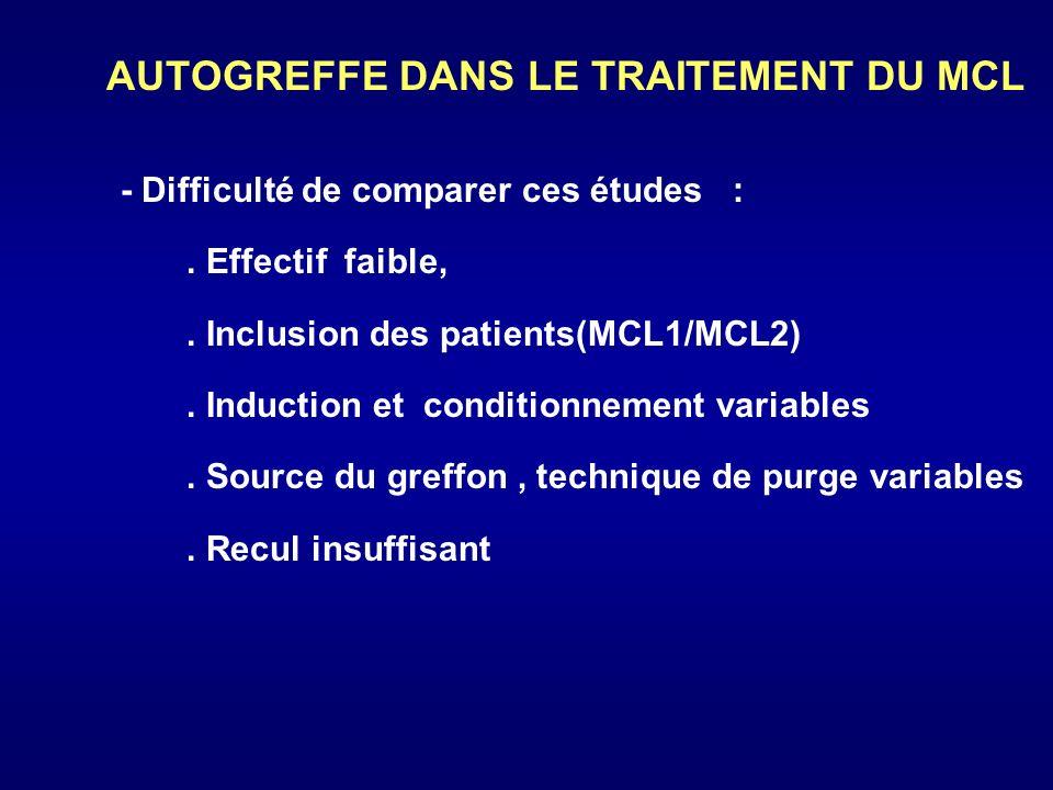 AUTOGREFFE DANS LE TRAITEMENT DU MCL - du taux de RC : 70 100 % - PFS (2ans) = 30-75 % mais pas de plateau évident > 2 ans - SG (2ans) = 30-90 % Les conclusions sont confortées par létude du registre de lEBMT :.