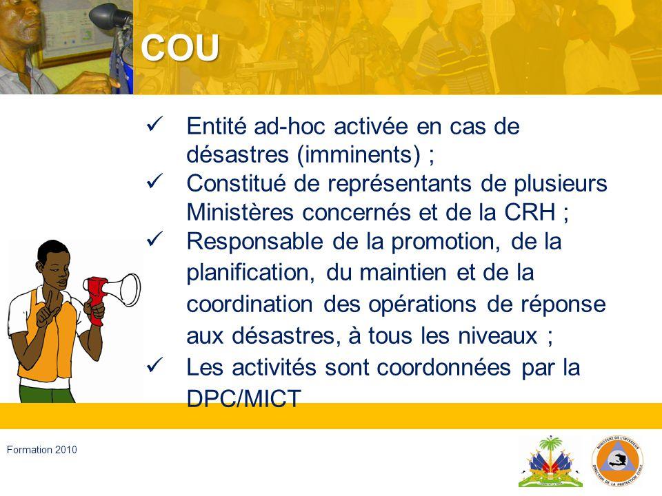 Haïti, septembre 2008 Formation 2010 Les Comités et Groupes Les Comités Institutionnels (thématiques et sectoriels) Les Comités départementaux, communaux et locaux ; Le Groupe dAppui de la Société civile ; Le Groupe dAppui de Coopération internationale
