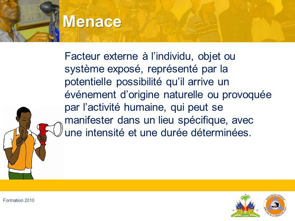 Haïti, septembre 2008 Formation 2010 Vulnérabilité Facteur interne dun individu, dun objet ou dun système exposé à une menace, qui correspond à sa disposition intrinsèque à être endommagé.