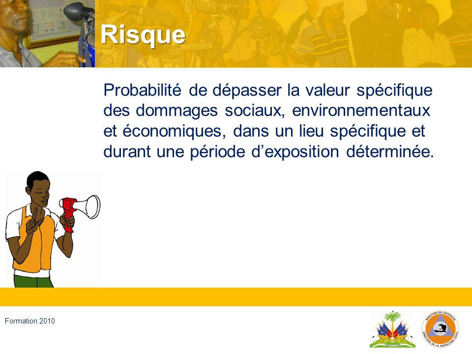 Haïti, septembre 2008 Formation 2010 Evénements adverses Des altérations chez les personnes, les biens, les services et lenvironnement, causées par un événement naturel ou provoquées par lactivité humaine.