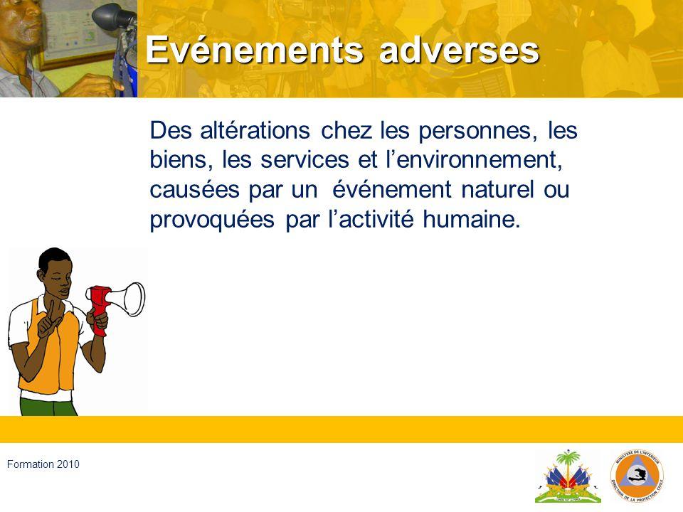 Haïti, septembre 2008 Formation 2010 Catastrophes Des altérations chez les personnes, les biens, les services et lenvironnement, causées par un événement naturel ou généré par lactivité humaine qui dépassent la capacité de réponse de la communauté affectée.