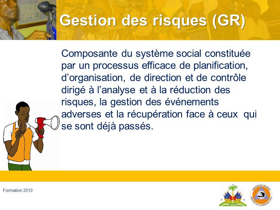 Haïti, septembre 2008 Formation 2010 Analyse du risque Analyse du risque Gestion des événements adverses Reduction des risqué Récupération GR Développement