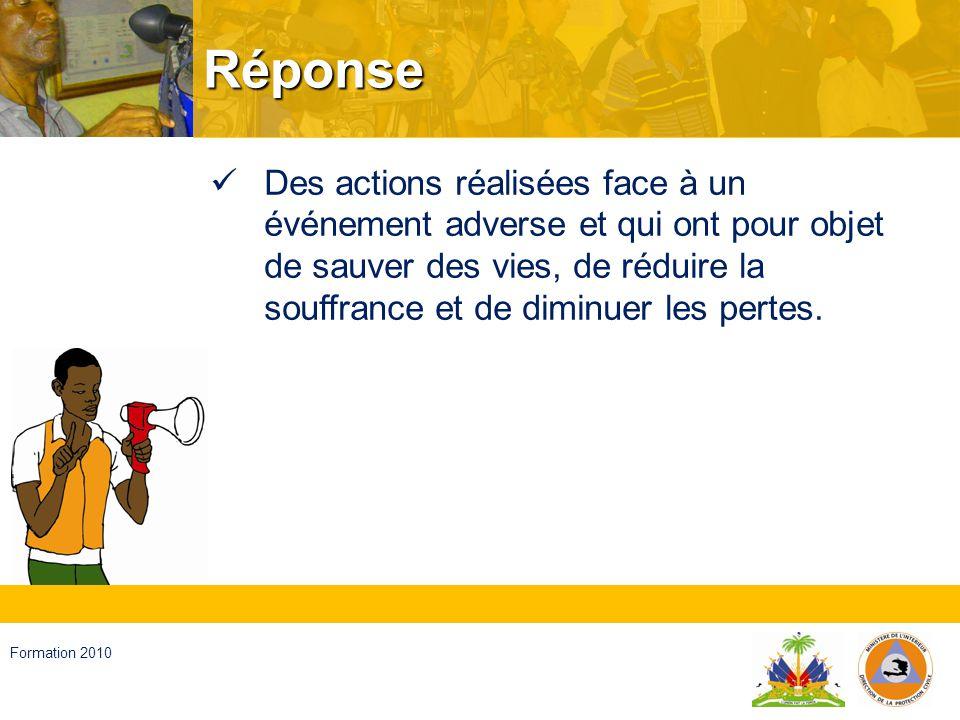 Haïti, septembre 2008 Formation 2010 Récupération Processus de rétablissement des conditions normales de vie dans la communauté affectée.