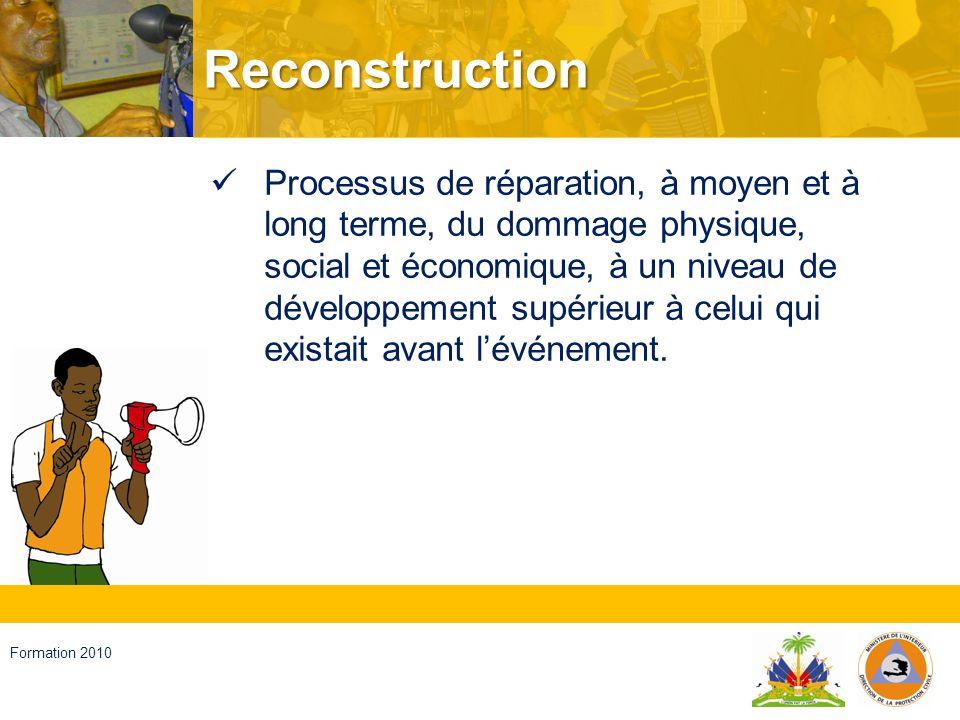 Haïti, septembre 2008 Formation 2010 Développement Augmentation accumulative et durable dune quantité et qualité de biens, de services et de ressources dune communauté, liée à des changements sociaux, qui tendent à maintenir et à améliorer la sécurité et la qualité de la vie humaine, sans compromettre les générations futures