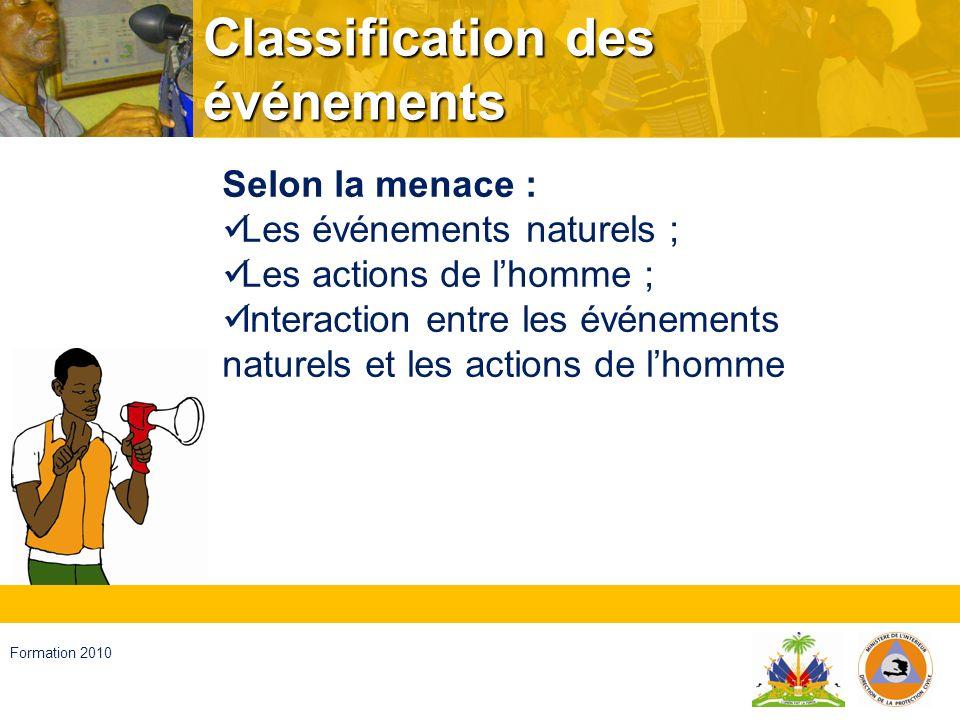 Haïti, septembre 2008 Formation 2010 Classification des événements Selon la forme dapparition : A debut lent ; A debut soudain.