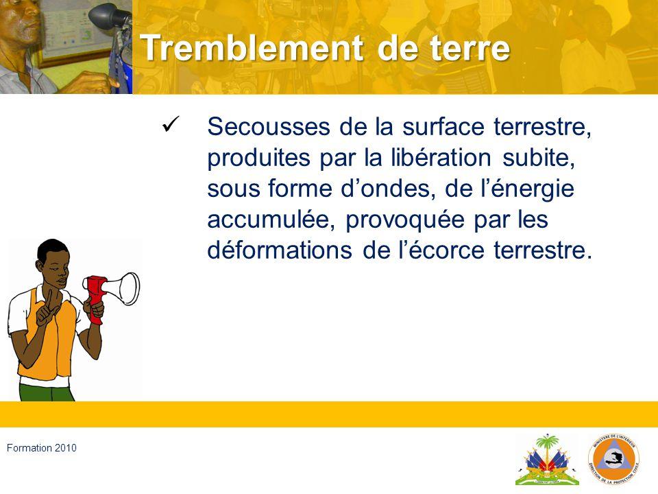 Haïti, septembre 2008 Formation 2010 Capacités principales Vibration Liquéfaction Effets secondaires Effets sur les personnes