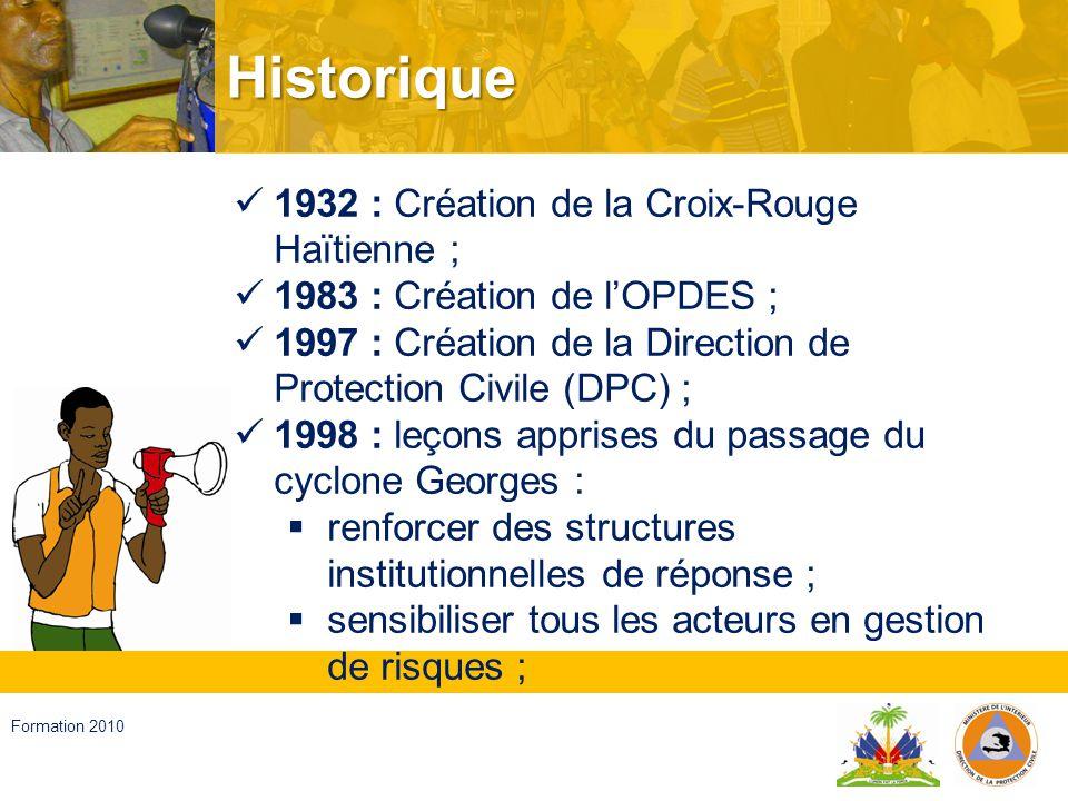 Haïti, septembre 2008 Formation 2010 Historique… développer la volonté daffronter les problèmes ; Passage du cyclone Georges nécessité de renforcer les structures de réponse ; 1999 : Élaboration du Plan National ; 2001 : Validation du Plan National ; 2002 – à nos jours : Mise en œuvre du Plan National avec lappui de plusieurs partenaires tels que PNUD, PADF, USAID/OFDA, ECHO, FEMA etc.