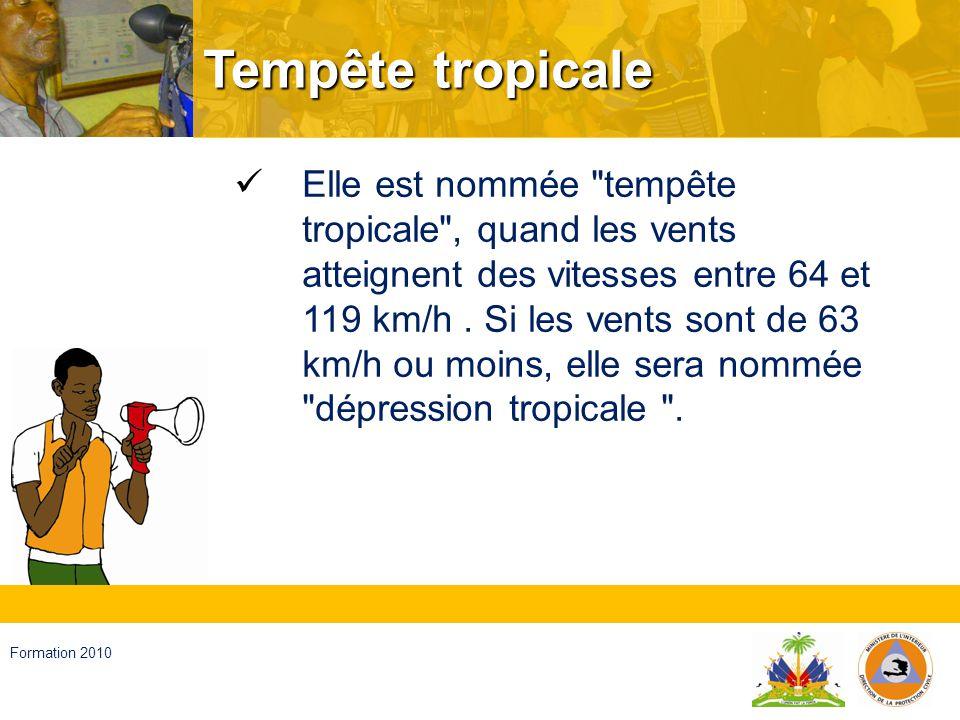 Haïti, septembre 2008 Formation 2010 Cyclone Système fermé dans latmosphère, avec une basse pression et des vents forts en rotation de plus de 120 km à lheure qui forment des grands tourbillons ; En général ils se développent dans les dépressions du tropique et ils se déplacent de manière erratique vers les latitudes plus hautes.