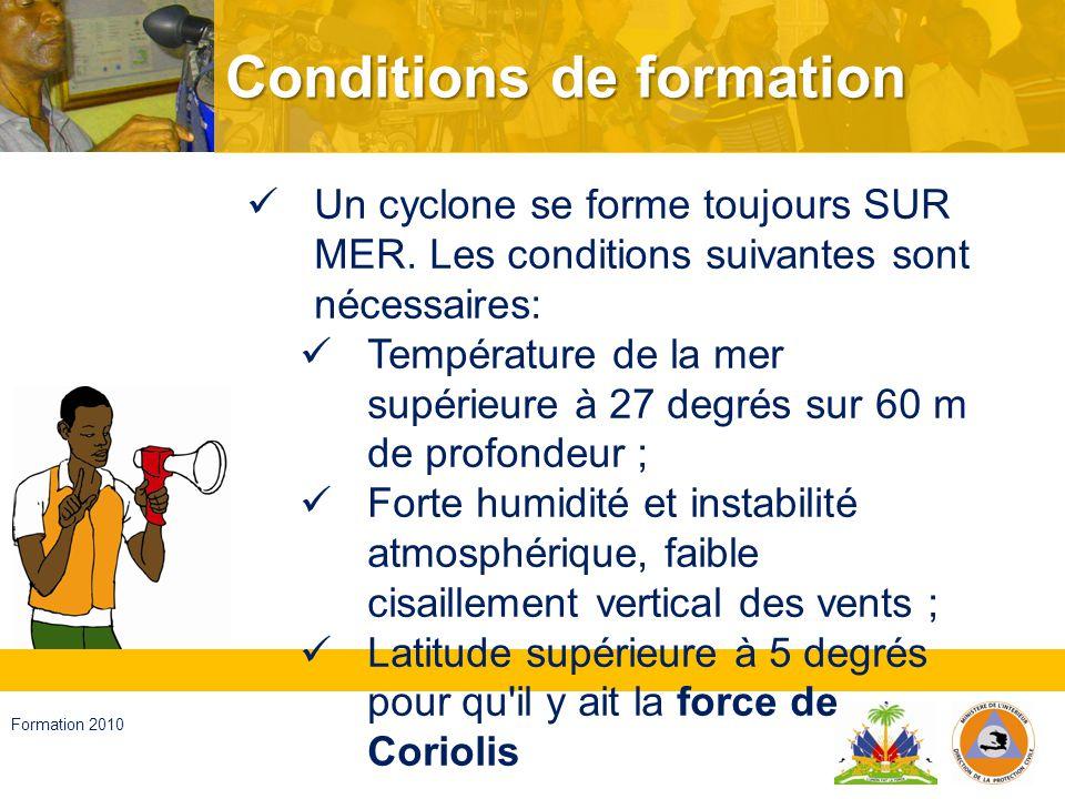 Haïti, septembre 2008 Formation 2010 … Sur l Atlantique Nord, la saison cyclonique s étend de Juin à Novembre.