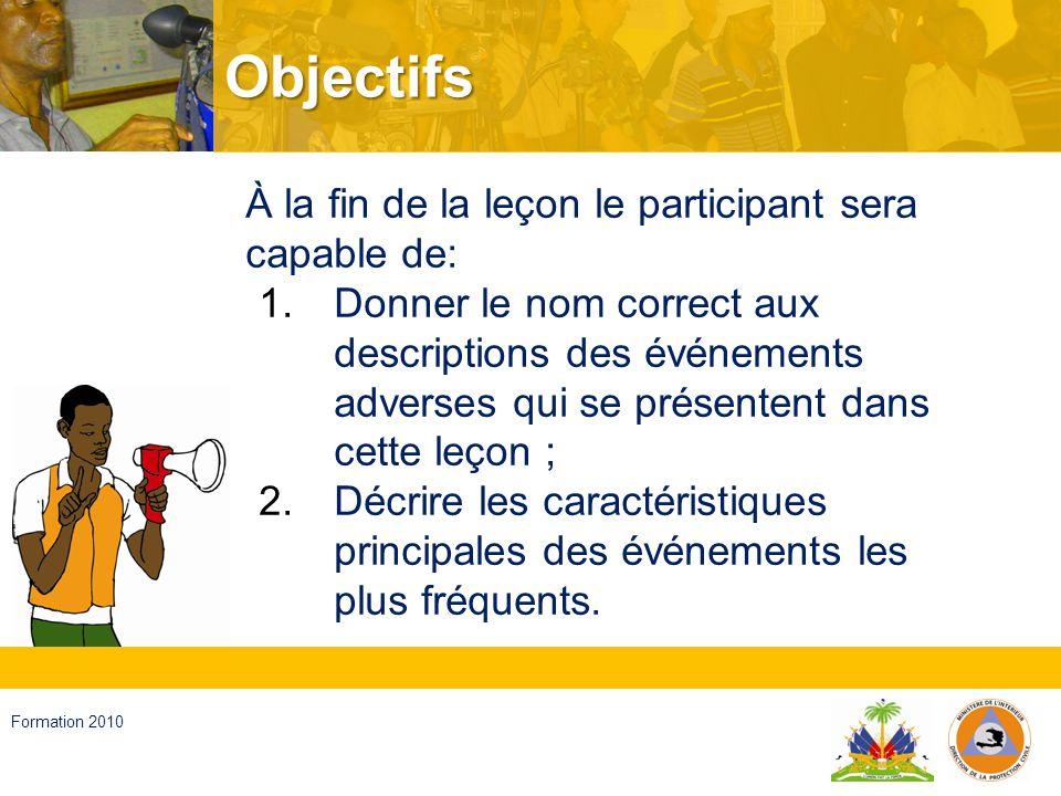 Haïti, septembre 2008 Formation 2010 3 niveaux dintensité dimpact Vigilance jaune (peu violent à violent) Vigilance orange (violent à très violent) Vigilance rouge (extrêmement violent)