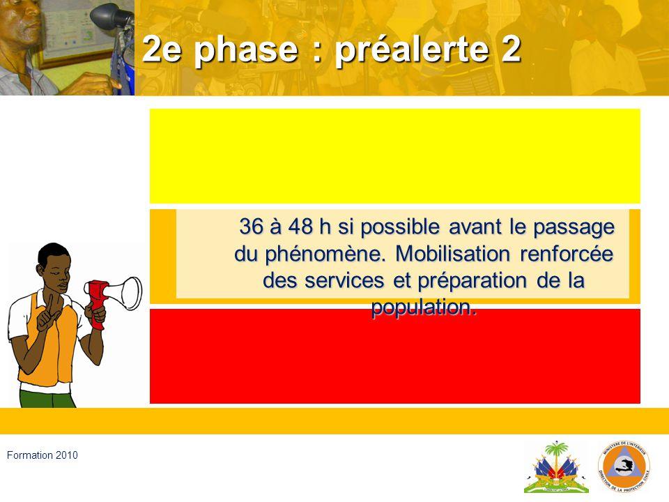 Haïti, septembre 2008 Formation 2010 3e phase : alerte 1 15 à 24 heures si possible avant le passage.