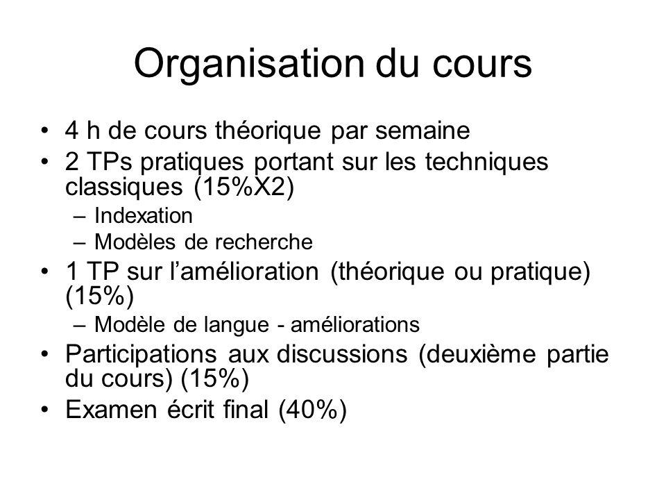 Plan Sem 1.Introduction Sem 2. Indexation Sem 3. Modèles classique Sem 4.