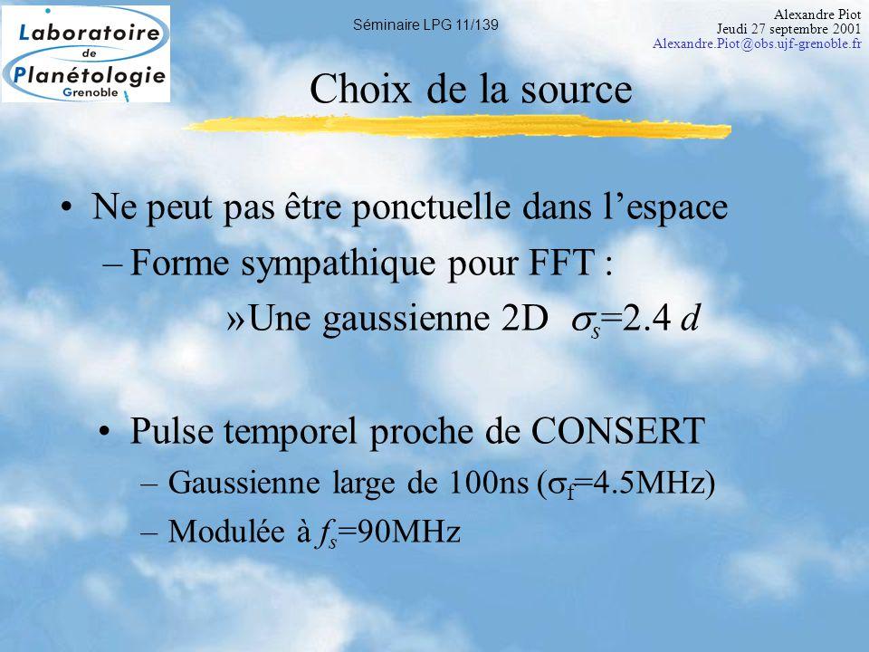 Alexandre Piot Jeudi 27 septembre 2001 Alexandre.Piot@obs.ujf-grenoble.fr Séminaire LPG 12/139 Objectifs finaux Dynamique de -120 dB Impose des restrictions supplémentaires
