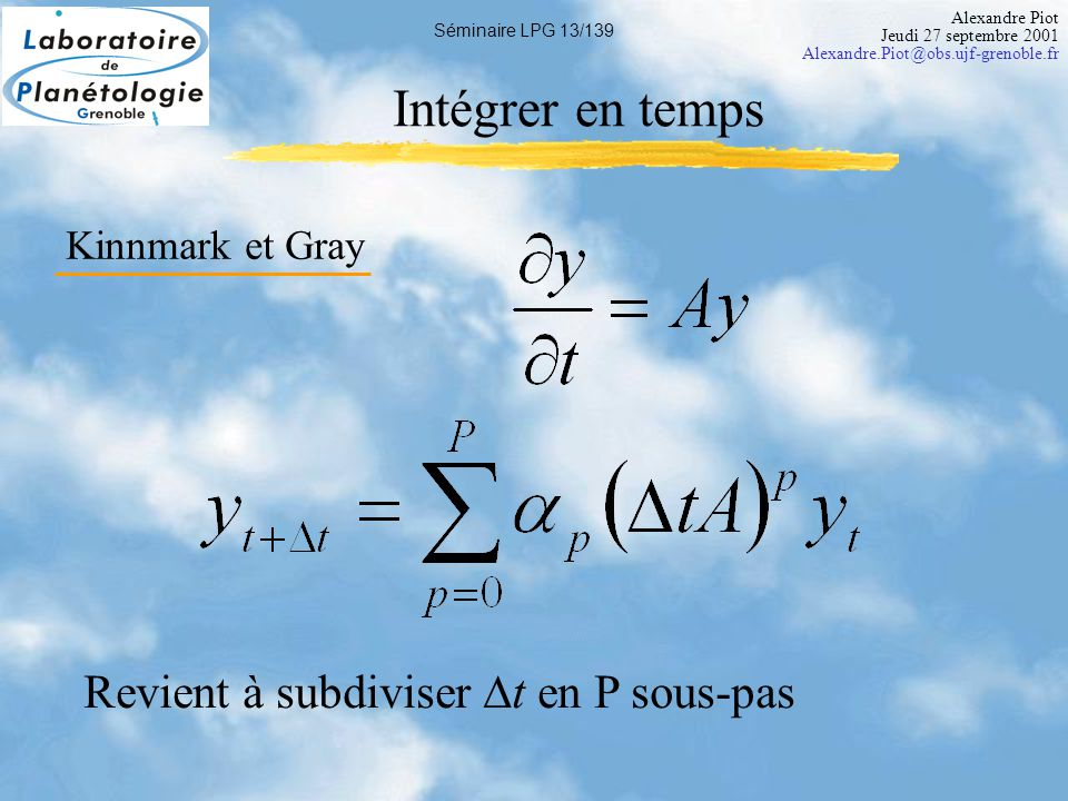 Alexandre Piot Jeudi 27 septembre 2001 Alexandre.Piot@obs.ujf-grenoble.fr Séminaire LPG 14/139 Critère de stabilité Relation entre  t et  x