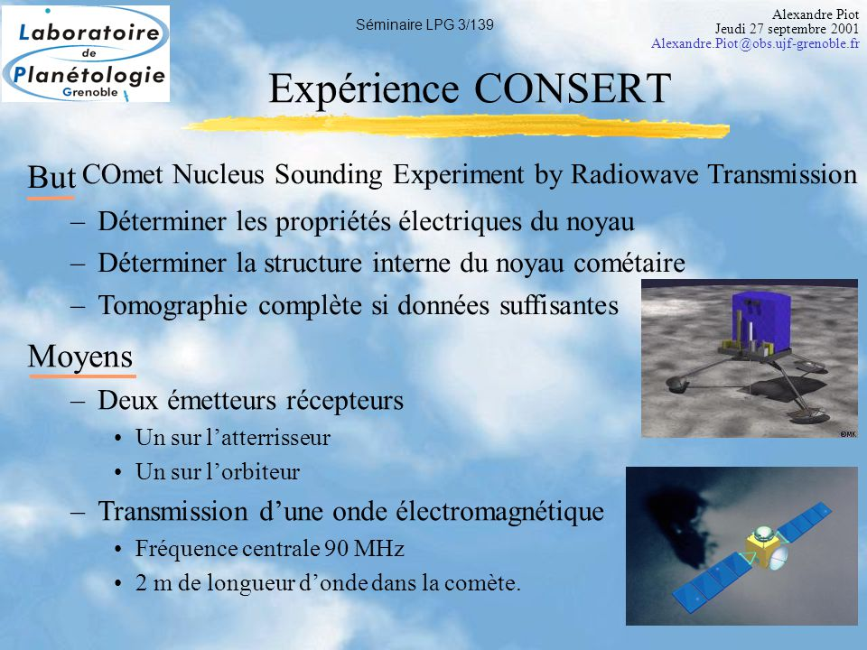 Alexandre Piot Jeudi 27 septembre 2001 Alexandre.Piot@obs.ujf-grenoble.fr Séminaire LPG 4/139 Préparation de CONSERT Expérience jamais réalisée.