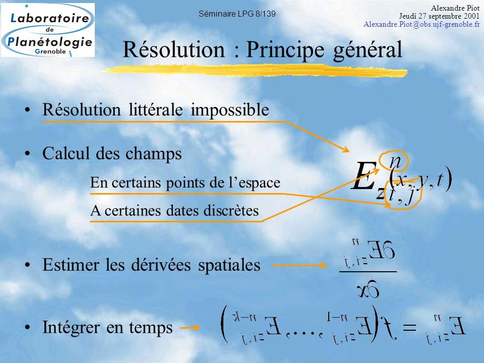 Alexandre Piot Jeudi 27 septembre 2001 Alexandre.Piot@obs.ujf-grenoble.fr Séminaire LPG 9/139 TF /x TF -1 /x Méthode Pseudospectrale Calculs dérivées spatiales Dans le domaine de Fourier