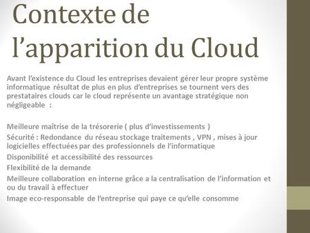 Contexte de l'apparition du Cloud