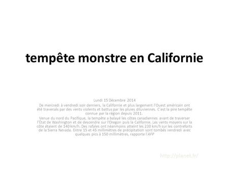 tempête monstre en Californie
