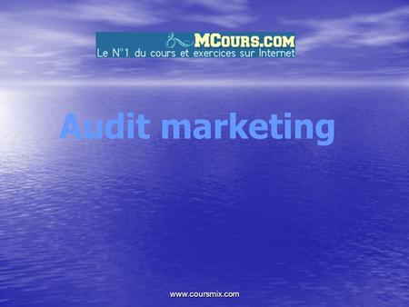 Www.coursmix.com Audit marketing. www.coursmix.com PLAN DE L'EXPOSE INTRODUCTION A PROPOS DE L ' AUDIT.Historique.les principes de l ' audit.la d é marche.