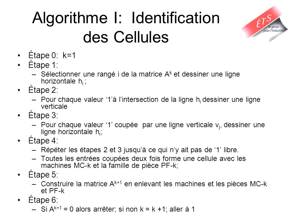 Exemple Matrice machine-pièce Cellule 1: MC -1 = {1, 5, 7} PF-1 = {2,3,5,8} Itération 1